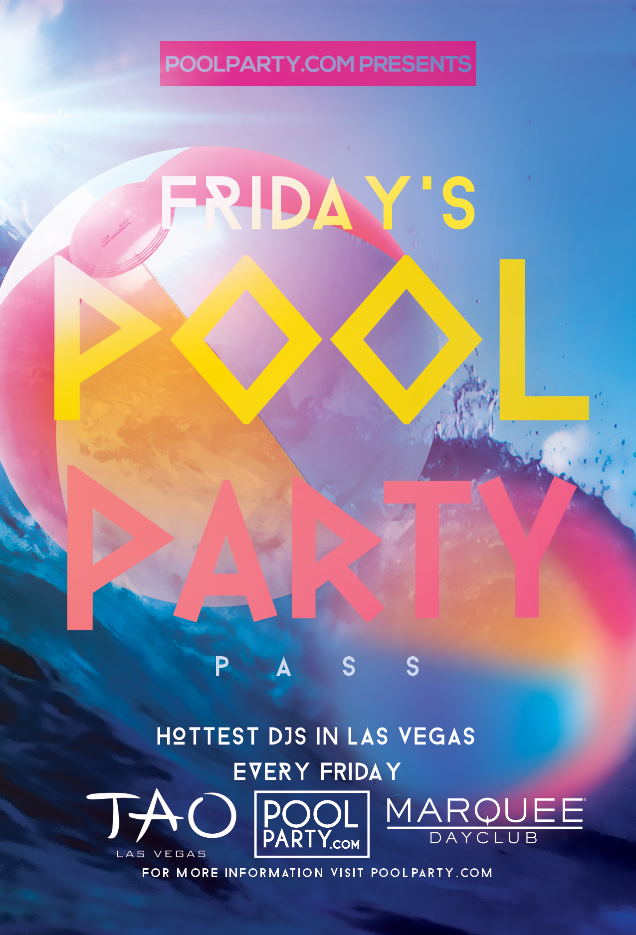 Friday's Pool Party Pass (August 09th)*NOW INCLUDING FREE ADMISSION TO TAO NIGHTCLUB*