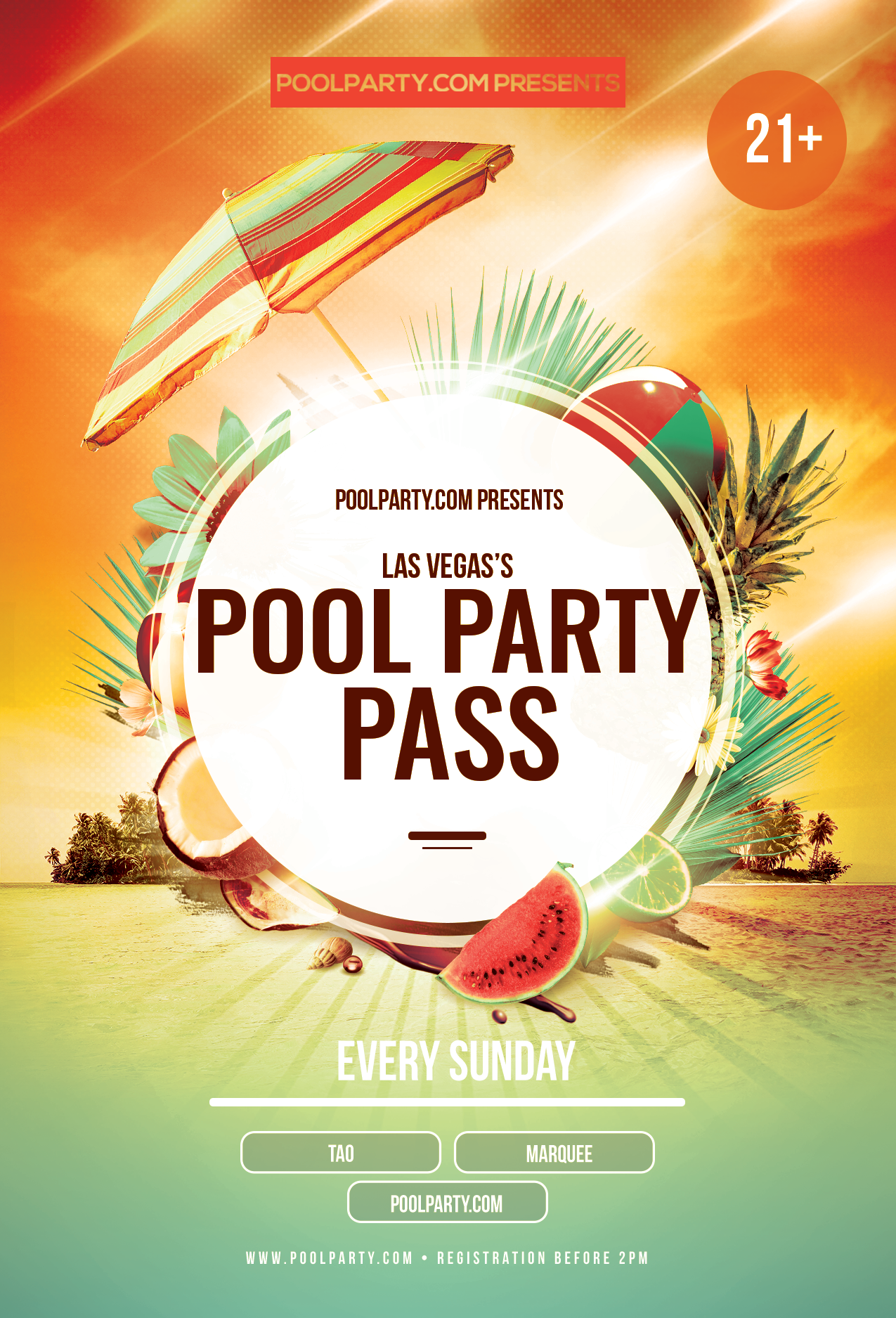 Sunday's Pool Party Pass (July 21st)*NOW INCLUDING FREE ADMISSION TO TAO NIGHTCLUB*